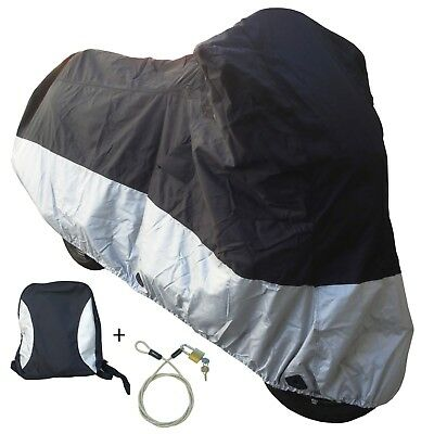 Premium Heavy Duty Motorcycle cover (XL) with cable & lock. Fits up to 94""