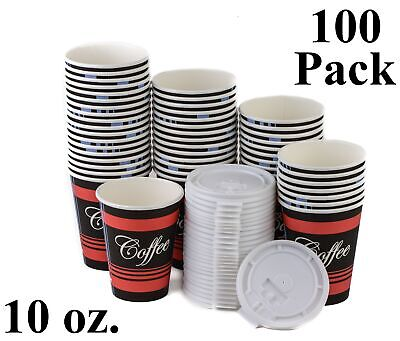 100 Pack 10 Oz. Disposable Poly Paper Hot Tea Coffee Cups with Flat White Lids