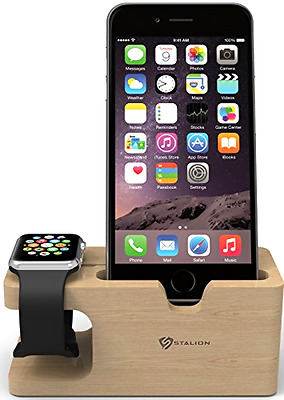 Bamboo Charging Dock Station Charger Stand Holder for Apple Watch iPhone 7 6 5