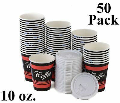 50 Pack 10 Oz. Poly Paper Disposable Hot Tea Coffee Cups with Flat White Lids