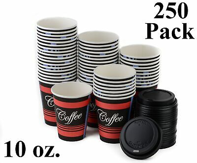 250 Pack 10 Oz. Poly Paper Disposable Hot Tea Coffee Cups with Dome Black Lids