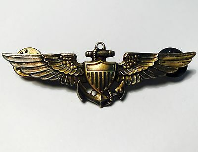 "Original WWll US Navy Pilot Wings-10K Yellow Gold/Sterling-Amico- 2-3/4""vintage"