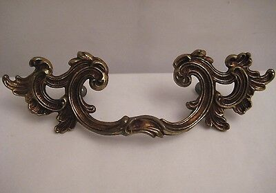 Ornate Antiqued Brass Drawer Handle / Pull Vintage