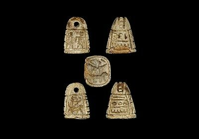 Egyptian Inscribed Pyramidal Amulet Seal Bead Late Period  664-332 B.c.