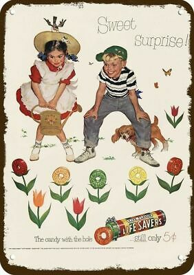 1952 LIFE SAVERS Vintage Look Replica Metal Sign - KIDS - DOG - CANDY FLOWERS