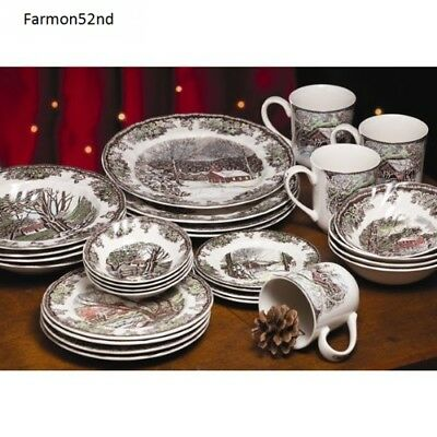 Thanksgiving Christmas Dishes Johnson Brothers Friendly Village 28-Piece Set
