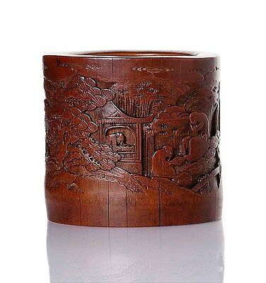 An antique Chinese bamboo brushpot, Qing dynasty, 19th century