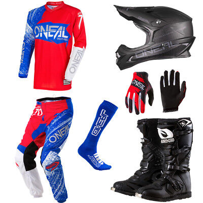 O'Neal Element Burnout motocross gear - Jersey Pants Gloves Helmet Boots Combo