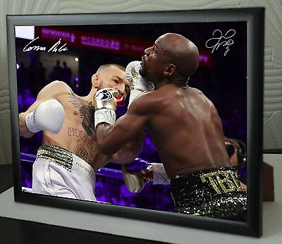 Conor McGregor Vs Floyd Mayweather A4 canvas tribute signed