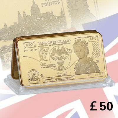 WR 24K Gold Great Britain Gold Minted Bar UK 50 Pound Note Elizabeth Collection