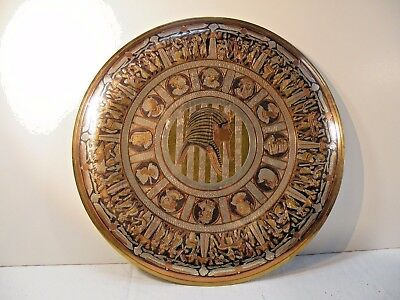 "TMbx ANCIENT EGYPTIAN REPRODUCTION Copper brass engrave inlay plate 12"" pharaoh"