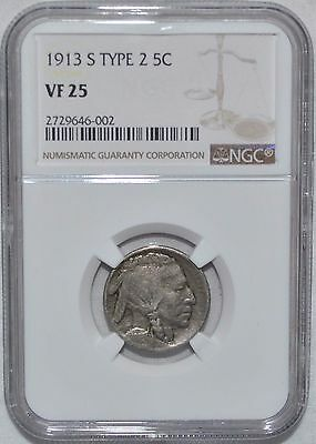 1913-S Type 2 Buffalo Nickel - Ngc - Vf 25 - New Style Holder
