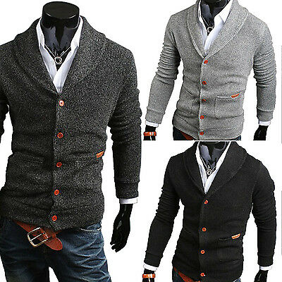 Mens Slim Fit V-neck Knitwear Pullover Cardigan Sweater Jacket Coat Tops New Fei