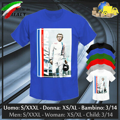 """T-shirt """"STEVE"""" Le Mans 24h King of Cool Gulf Martini Racing Retro, Collez 2019!"""