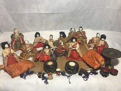 Lot Of Anteque Japanese Silk Robe Dolls 13 Dolls Total