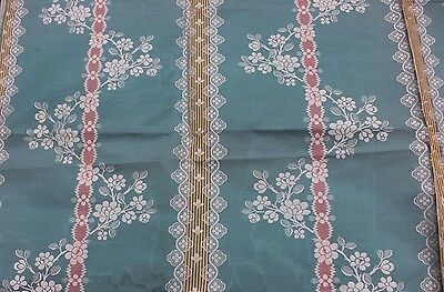 "French Antique 19thC ""Hamot"" Brocaded Moiré Silk Lampas Sample Fabric~Turquoise"