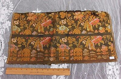 "Antique 19thC French ""Hamot"" Lyon Silk Brocaded Lampas Sample Fabric c1840-1860"