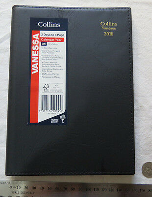 Diary 2018 Collins Vanessa 285 A5 2 Days To Page Stitched BLACK PVC