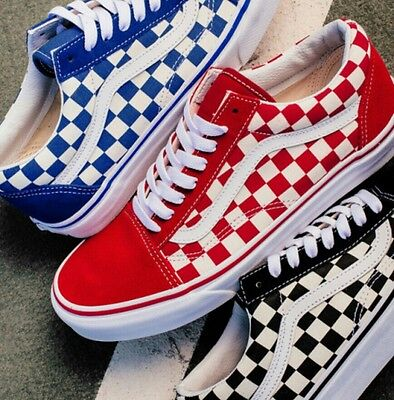 dbd3aac2ec4 Red Checkerboard Vans Old Skool Womens Mens 5.5  7 NEW thrasher flame rare