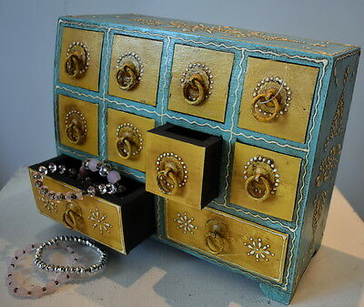 Moroccan Style Jewellery  Box with Embossed Paint Multi-drawer 20x25x11cm