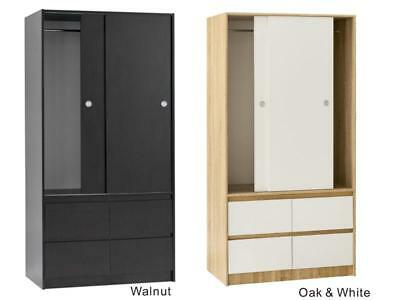 Cia Sliding doors wardrobe in Oak, Oak+White, Walnut, Walnut+White, White