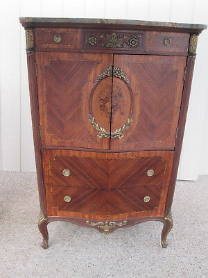 58222  Beautiful Marble Top Inlaid French Chest High Chest Dresser   QUALITY