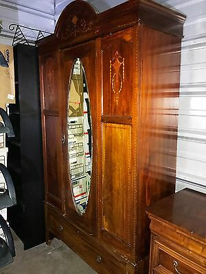 Antique Vintage Armoire Wardrobe Closet Carved Ornate Mirror Local Pick up