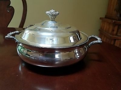 Vintage Large W.m. Rogers Silver Plate Covered Casserole Bowl Eagle/ Star 996