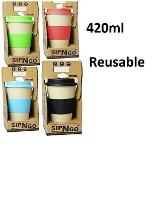 2x BYO Sip N GO Cup KeepCup Coffee Tea Reusable Non Slip Thermal Silicone 420ml