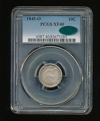1845-O Seated Liberty Silver Dime 10C PCGS XF 40 CAC Type 3, Stars Obverse