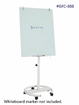 Portable Adjustable Tempered Glass Flipchart Easel Whiteboard 70*100 cm #GFC888