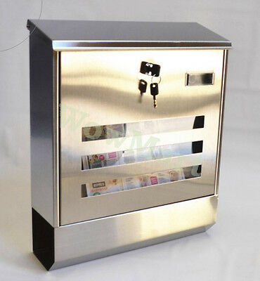 New Wall Mount Stainless Steel Mail Box With Newpapers Holder Large (#918)