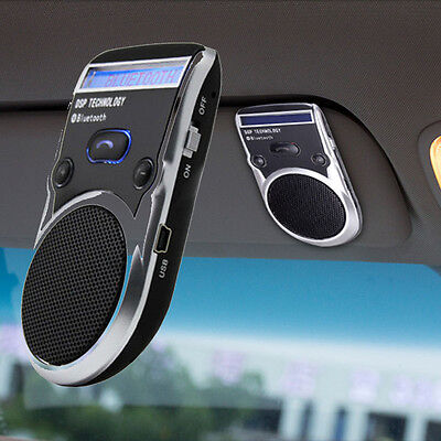 Car Kit Voice Dial LCM Display Speakerphone Solar Powered Bluetooth Wireless