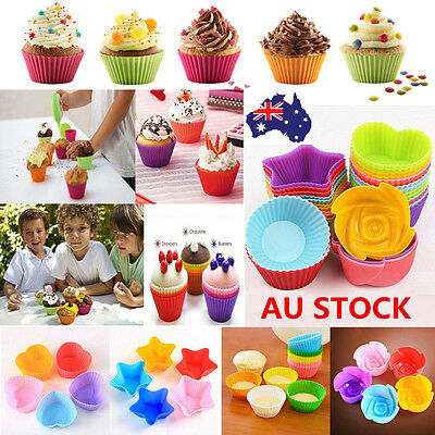 12PCS Soft Silicone Muffin Liners Cupcake Bakeware Baking Chocolate Mold Mould