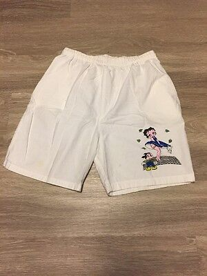 Women's Extra-Large Vintage Betty Boop White Shorts  100% Cotton