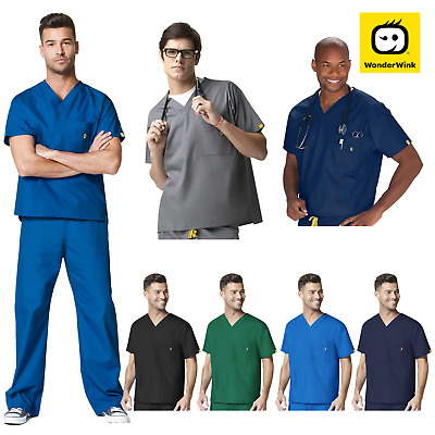 Mens Scrub Set- Loose Fit Top and Pants Nurse Medical Uniform 4 Colours