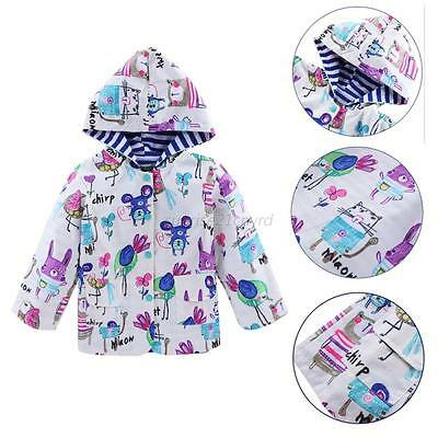 Baby Kids Protective Raincoat Girls Boys Animals Cartoon Waterproof Rainwear AU