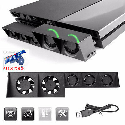 AU USB Cooling Fan Cooler 5-Fan For Sony Playstation PS4 Gaming Console