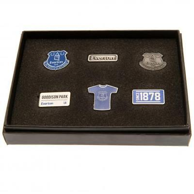 Everton Football Club 6 Piece Metal Pin Badge Set Boxed Official Crest Souvenir