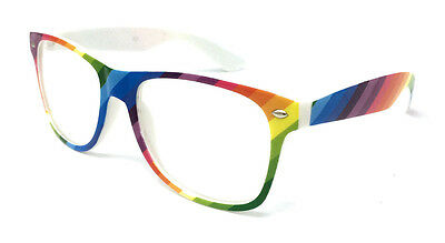 Rainbow Clear Lens Novelty Glasses Nerd Geek Hipster Festival Vintage Hen Stag