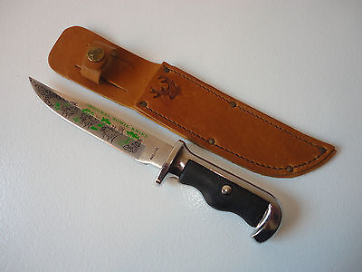 "Vintage Rostfrei ""Original Bowie Knife"" Deer Motif With Matching Leather Sheath"