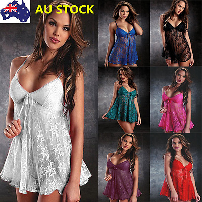 Sexy Women Lingerie Lace Push Up Bra Sleepwear Babydoll Nightwear Sling Dress