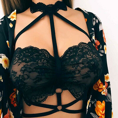 Halter Bandage Sexy Hollow Harness Lace Strappy Bra Bralette Women Crop Top Mast