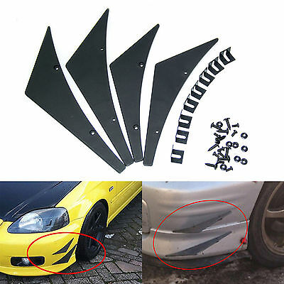 4X Universal Fit Front Bumper Lip Splitter Fins Body Spoiler Canards Valence Fit