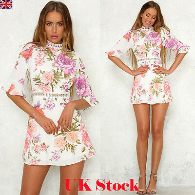 Womens Lace Floral Party Cocktail Mini Ladies Long Sleeve Bodycon Evening Dress