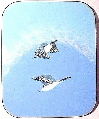 """Vtg Handpainted Enamel On Metal Canadian Geese Fabrique 7.5"""" Plaque Wall Hanging"""