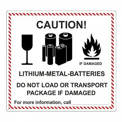 "Pegatina ""lithium-metal-batteries"" - 120 x 110mm - 100 piezas"
