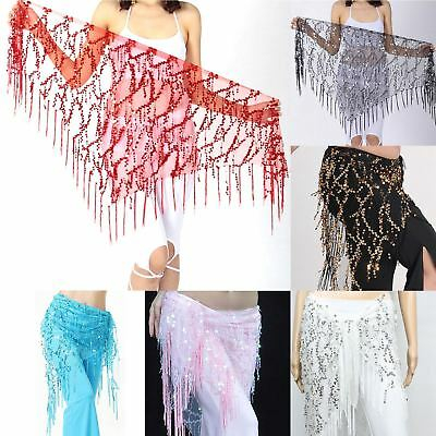 Triangle Belly Dance Hip Scarf Wrap Waistband Belt Skirt Coin Sequin Dancewear