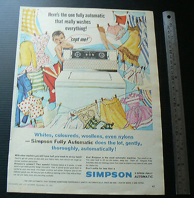 1962 vintage ad SIMPSON washing machine washer advertisement advertising retro