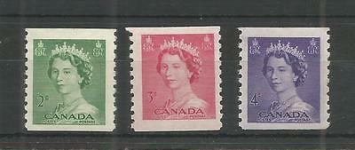Canada 1953 Definitives  Imperf X Perf Sg,455-457 Um/m Nh Lot 4830A